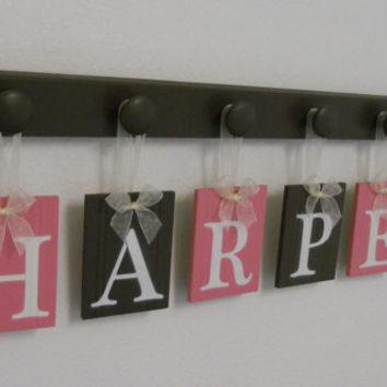 Baby Girl Letter Name Hanging - Wooden Baby Name Personalized Hanging Letters 6 Wood Hangers Pink and Brown - HARPER
