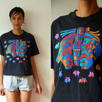 Vtg Southwest Mosaic Pottery Print Black SS Crop Shirt