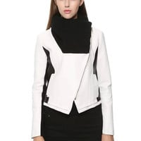 Faux Leather Patchwork Knitted Collar Zipper Jacket