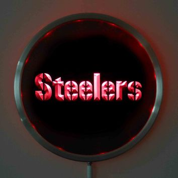 rs-0145 Pittsburgh Steelers LED Neon Round Signs 25cm/ 10 Inch - Bar Sign with RGB Multi-Color Remote Wireless Control Function