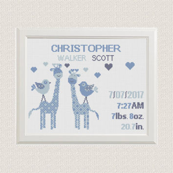 baby boy Birth announcement cross stitch pattern Giraffes with birds hearts baby sampler birthday gift nursery decor wall art