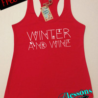 WiNTeR and WiNe. Christmas Tank Top. Funny Christmas Tank. Christmas Shirt. Workout Tank. Holiday. Xmas. Fitness Tank. Free Shipping USA