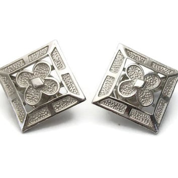 Vintage Crown Trifari Silver Tone Square Open Flower Clip On Earrings - Openwork Design Floral Clip Ons - Trifari Jewelry