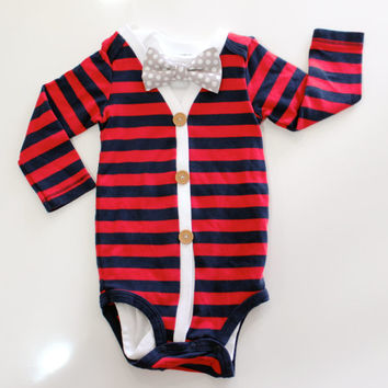 Bow Tie Cardigan. Baby Boy Outfit.  Long sleeve preppy trendy red blue striped gingham.