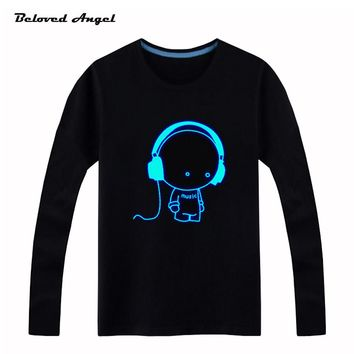 Brand New 100-160cm Long Sleeve Boys Girls T-shirts Child Tops Hip Hop Neon Print Party Club Night Light Punk Teenager Top Tees
