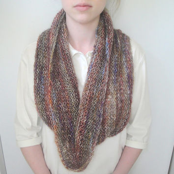 Earthy Cowl Scarf, Infinity Eternity Circle Loop Scarf, Neckwrap Neck Warmer, Hand Knit Cotton Blend, Women & Teens