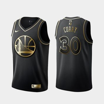Golden State Warriors #30 Stephen Curry Black Gold Jersey - Best Deal Online