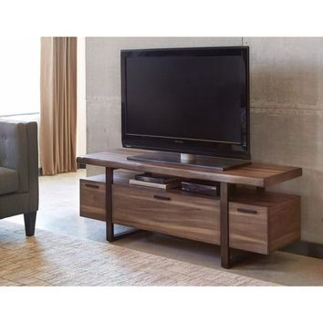 Benzara Radiant Low-profile Hazelnut Brown Wood Industrial TV Console