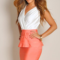 Elegant Pink&White Peplum Dress