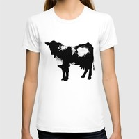 Cow Black and White brush paint splash T-shirt by Xiari