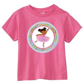 Black Hair Ballerina Paisley Personalized Pink T-Shirt