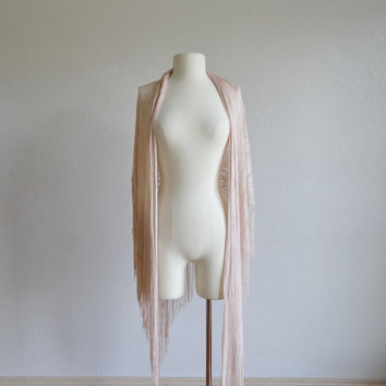 70s blush pink lace shawl - vintage 1970s fringed wrap - scarf cardigan poncho - fringe tassel - ivory cream pale pink - one size fits all