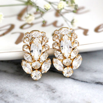 Bridal Crystal Earrings, Clear Crystal Cluster Earrings, Art Nouveau Earrings, Swarovski Crystal Cluster Earrings, Bridal Crystal Studs