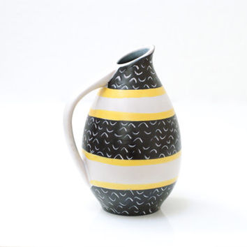 WEST GERMAN POTTERY Jug or Pitcher, Midcentury German, Black White and Yellow, Made in Germany or Switzerland, Marked 328