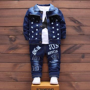 Retail!1-4 yrs,2017 Autumn fashion Boys Clothes Sets Children Coats Jacket + T-Shirt + Trousers 3 pcs suit,free shipping
