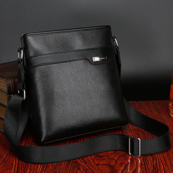 Men Leather Business Crossbody Bag Leisure Outdoor Shoulder Bag