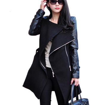 New fashion trend Lady punk quilted lining Street wear Women Outwear Clothes Spliced Faux Leather sleeve Jacket Coat
