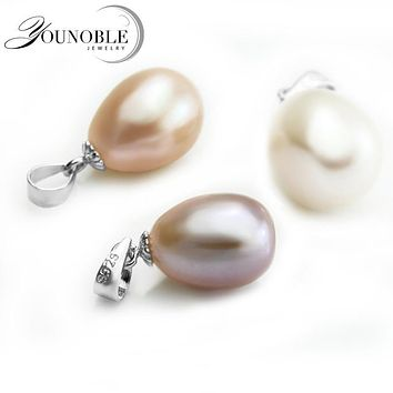 Freshwater Pearl Pendant Necklace 925 Silver Women,Real WhiteNatural Pearl Pendants Jewelry Daughter Birthday Best Gift P23