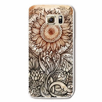 Samsung Galaxy S6 Vintage Sunflower Case Hard Plastic Galaxy S6 Tribal Pattern Samsung S6 Sunflower S629