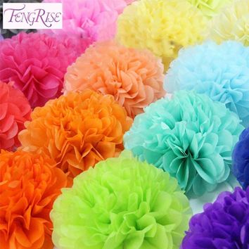FENGRISE 1 pcs 35 cm Decorative Cheap Artificial Flowers China Pom Poms Garland Fake Wreath Wedding Car Tissue Paper Ball Crafts