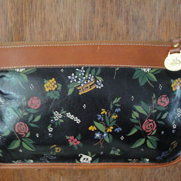 Vintage Brahmin Flowers Floral Design Bag Purse Shoulderbag Long Strap