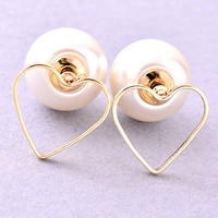 Pearl Back Heart Earrings