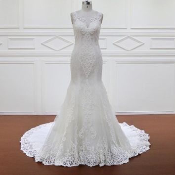 Vintage Mermaid Wedding Dress Handmade Flowers Court Train Embroidery Lace Bridal Gowns