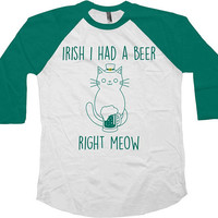Funny St Patricks Day Shirt Cat Lover T Shirt Beer Drinker St Pattys TShirt Kitty TShirt Beer Lover Drinking Outfit Raglan Tee - SA1029