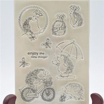 Cute little hedgehog Transparent Clear Silicone Stamp/Seal for DIY scrapbooking/photo album Decorative clear stamp sheets QYZD22