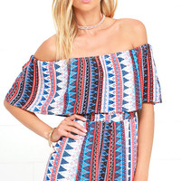 Backyard Barbecue Red Print Off-the-Shoulder Romper
