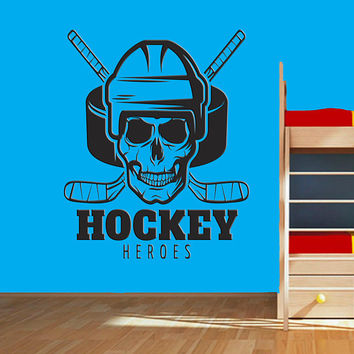 Ice Hockey Wall Decal, Ice Hockey Skull Head Wall Sticker, Ice Hockey Wall Vinyl Decor, Kids Bedroom Hockey Emblem Wall Decoration se072