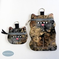 Calico Cat Coin Purse, Earbud Pouch or Cell Phone, Zipper Case