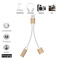 2 in 1 Lightning to 3.5 mm Cable Adapter Lightning Connector to 3.5mm AUX Female Audio Jack Earphone Headset Headphone Extender Jack Stereo for iPhone 7 7Plus & iPhone se 5s 6 6 Plus +Gift Box【Clearance Sale 】