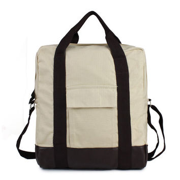 Athletic Canvas Women Tote Leather Backpack