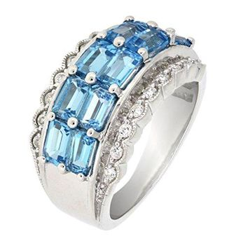 Sterling Silver Emerald Cut Genuine Blue Topaz Multi Stone Cocktail Ring 4 CTTW