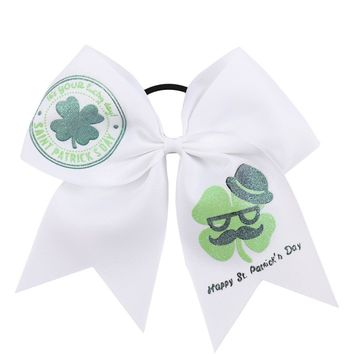 2Pcs/lot 7 Inch St.Patrick's Day Cheer Bows for Ponytail