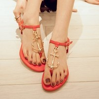 L 082405 Retro anchor personalized T -Strap Thong Sandals