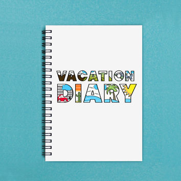 """Travel Journal - Vacation Diary - 5"""" x 7"""" Travel journal, travel diary, notebook, diary, sketchbook, scrapbook, memory, adventure, book"""