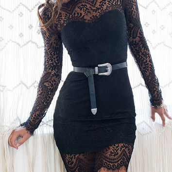 Black Long Sleeve Backless Sheer Lace Bodycon Dress
