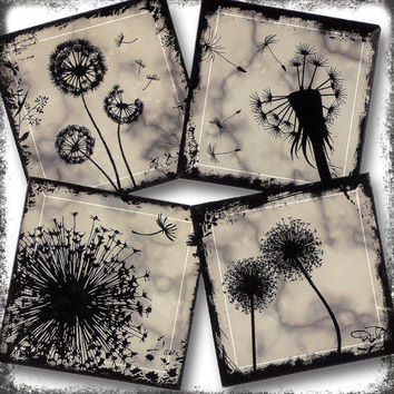 Misty Grey Dandelion Glass Art Coasters -  Handmade Beveled Glass Coaster Set of 4 - The GeoForms Collection -  Dandelion Grey Marble Mists