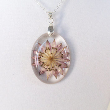 Astramtia Resin Pendant Necklace - Real Pressed Flower Encased in Resin,  Botanical Pendant, Resin Necklace, Reiki charged