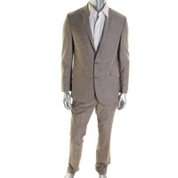 Kenneth Cole Reaction Mens Linen Blend Pinstripe Two-Button Suit