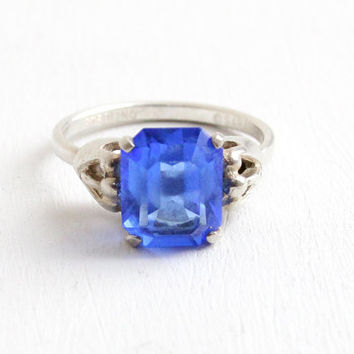 Vintage Sterling Silver Simulated Sapphire Ring - Retro Hallmarked Sarah Coventry Adjustable Blue Glass Stone September Birthstone Jewelry