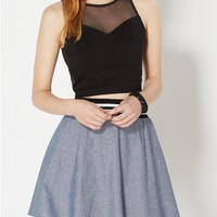 Sweetheart Cropped Mesh Top