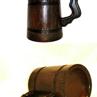 Wooden Beer Mug Personalized Beer Mug Tankard 0.3l Groomsmen gift Wedding Gifts for Dad Valentines gifts for him Father's day Gifts for men