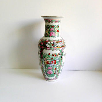 Vintage vase, hand painted china, floral vase, asian decor, vintage vase, home decor, table decor, china art, mid century china, china gift