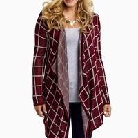 Burgundy-Checkered-Open-Cardigan