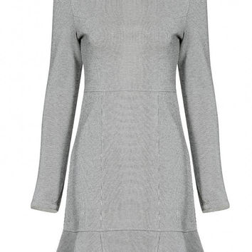 Gray Pleated Dress with Striped Design