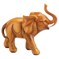 Gifts & Decor Lucky Elephant Wood Look Figurine Statue