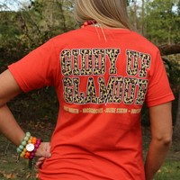 Giddy Up Glamour Leopard Tee Shirt in Orange